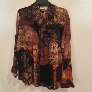 Chicos silk and linen button blouse patchwork
